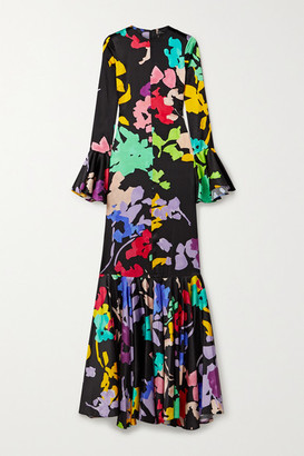 Caroline Constas Allonia Fluted Printed Silk-blend Satin Gown - Black