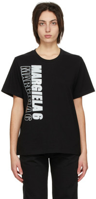 MM6 MAISON MARGIELA Black Vertical Logo T-Shirt