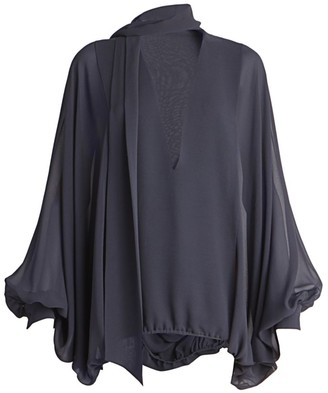Valentino Silk Tie-Neck Bishop-Sleeve Blouse