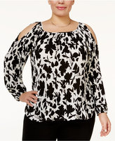 INC International Concepts Plus Size Pleated Cold-Shoulder Top, Only at Macy's