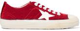Golden Goose Deluxe Brand V-star 2 Distressed Velvet Sneakers - Red