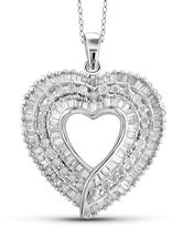 1 CT TDW Diamond Sterling Silver Baguette Cut Halo Heart Necklace by JewelonFire