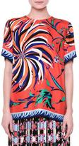 Emilio Pucci Short-Sleeve Cactus-Print Blouse, Orange