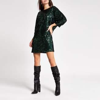 River Island Womens Green sequin embellished shift dress