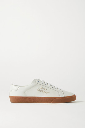 Saint Laurent Court Classic Logo-embroidered Leather Sneakers - White