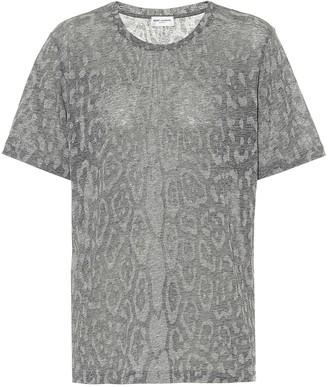 Saint Laurent Leopard-print cotton-blend T-shirt