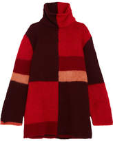 Roksanda Ekema Oversized Color-block Wool-blend Turtleneck Sweater - Red