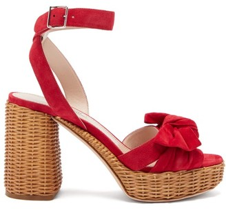 Miu Miu Bow-front Suede And Wicker Platform Sandals - Red