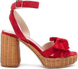 Miu Miu Bow-front Wicker-heel Suede Platform Sandals - Womens - Red