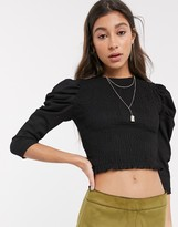 Bershka puff sleeve shirred top in black
