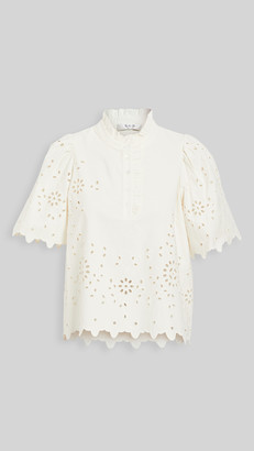 Sea Fern Eyelet Short Sleeve Top