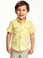 Old Navy Double-Pocket Linen-Blend Shirt for Toddler