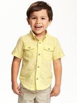 Old Navy Double-Pocket Linen-Blend Shirt for Toddler