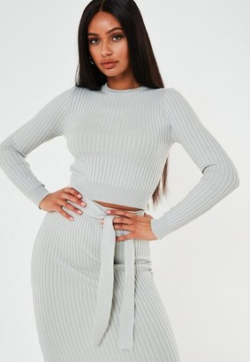 Missguided Green Co Ord Rib Crew Neck Cropped Sweater
