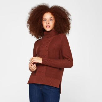 Esprit Cable Knit Jumper in Cotton Mix with Drop Hem and Roll Neck