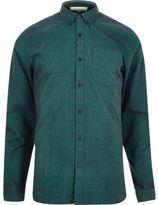 River Island MensDark green Oxford shirt