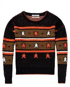 Maison Scotch Star Intarsia Pullover - Xsmall - White/Black/Brown