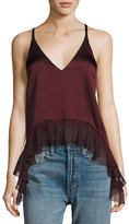 Elizabeth and James Manette Satin Ruffled Tank Blouse, Wine