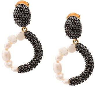 Oscar de la Renta Pearl Chain Earrings