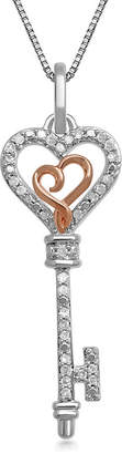 HALLMARK DIAMONDS Hallmark Diamonds 1/10 CT. T.W. Genuine Diamond Heart Key Pendant Necklace