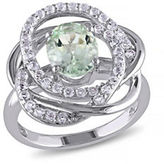 Concerto Green Amethyst and White Topaz Pave Orbit Ring