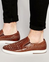 Dune Woven Slip On Sneakers In Tan Leather