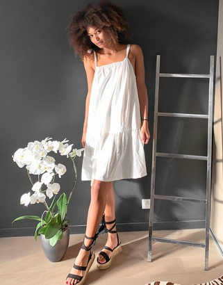 Vila mini dress with tie shoulder in white