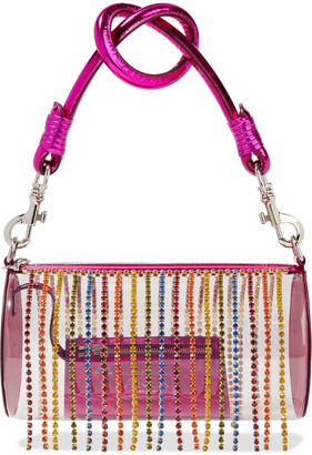 Area Roll Bag Crystal-embellished Metallic Leather And Pvc Tote