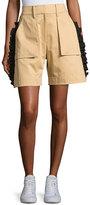 Public School Mousa Ruffled Poplin Shorts, Khaki