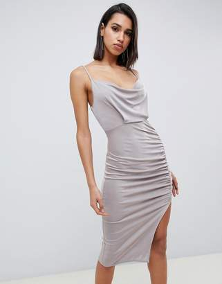 Asos Design DESIGN slinky cowl neck ruched midi bodycon dress-Silver