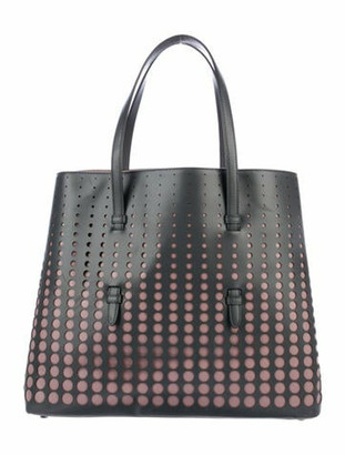 Alaia Laser Cut Leather Tote Grey