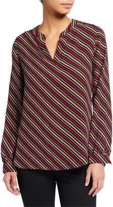 Anne Klein Stripe Split-Neck Blouse