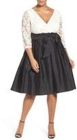 Adrianna Papell 'Guinevere' Lace & Taffeta Dress (Plus Size)