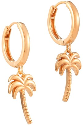 Seol + Gold 18Ct Rose Gold Vermeil Palm Tree Charm Hoops