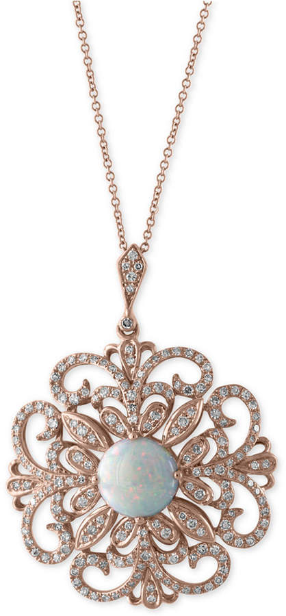 Effy Aurora by Opal (1-1/4 ct. t.w.) and Diamond (2/3 ct. t.w.) Pendant Necklace in 14k Rose Gold