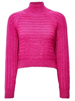 Dorothy Perkins Womens Lola Skye Pink High Neck Chunky Jumper, Pink