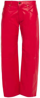 KHAITE Wendell Cropped Leather Straight-leg Pants