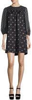Marc Jacobs Tulip-Print 3/4-Sleeve Dress, Black/Multi