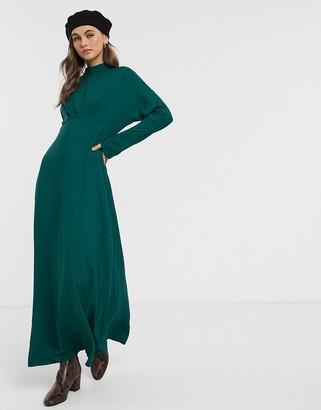 Asos Design DESIGN high neck maxi tea dress-Green