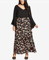 City Chic Trendy Plus Size Floral-Print Maxi Skirt