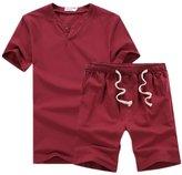Hzcx Fashion Mens Summer Cotton Linen Blends Two-Pieces Set T-shirt And Shorts SJXZ807-M12-30-R-TAG 5XL