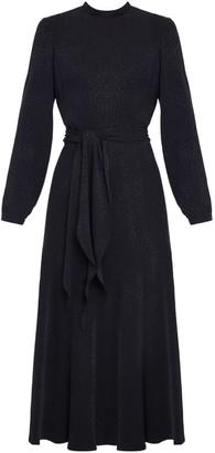 Undress Elia Black Leopard Print Open Back Flared Midi Dress