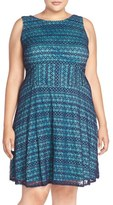 London Times Plus Size Women's 'Ric Rac' Lace Fit & Flare Dress
