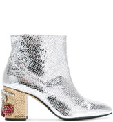 No.21 embellished heel ankle boots - women - Calf Leather/Leather - 36