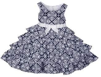 Joe Ella Kailey Athens Print Tiered Bow Dress (Little Girls & Big Girls)