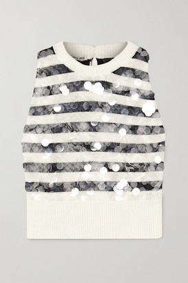 Miu Miu Paillette-embellished Striped Wool Vest - White