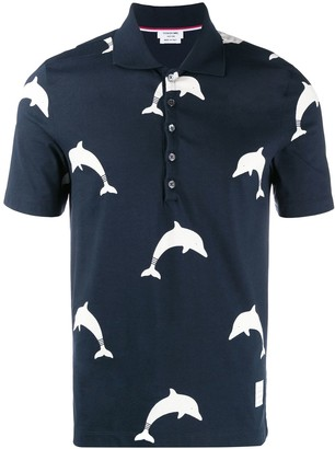 Thom Browne Dolphin Icon Print Short Sleeve Polo Shirt