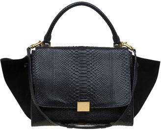Celine Black Python and Suede Medium Trapeze Bag