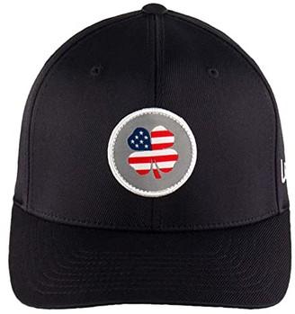 Black Clover USA Flag Nation Adjustable Hat (USA Patch Clover/White Trim/Black) Baseball Caps