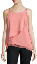 Halston Sleeveless Flounce-Draped Top, Blush